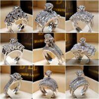 Chic Women White Sapphire 925 Silver Ring Set Wedding Bridal Jewelry Gift Sz4-12