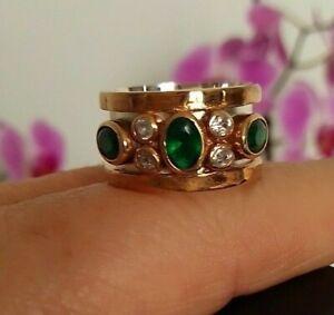 Sterling 925 Silver Handmade LadyJewelry Zambia Emerald Band Ring