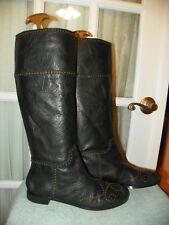 No 704 b. Jazz Black Studded Knee High Leather Boots Women's size EU 39.5 US 9.5