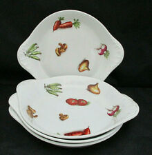 """Set 4 Augraten Casserole Dishes Made in France VEGETABLES White Handles 8.5"""""""