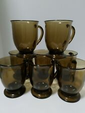 """8 Vintage Anchor Hocking Footed Amber Glass Cafe Mugs 5"""" Coffee Tea"""