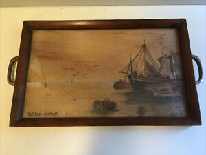 Vintage Glass Topped Wooden Tea Tray With Watercolour Painting & Steel Handles