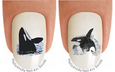 "Nail Decals #226 ANIMAL ""Whales Orca Sea Life"" WaterSlide Nail Art Transfers"