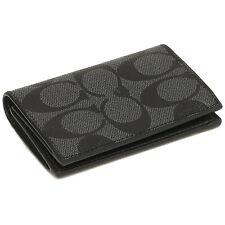 NWT COACH Bifold Card Case Signature Canvas Logo Classic Wallet Black F12025