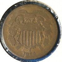 1864 2C Two Cent Piece, Large Motto (57037)