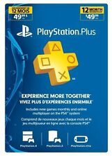 Playstation Plus 1 Year-12 Month Membership Canada, US Or Mexico PS4 PS3 or Vita