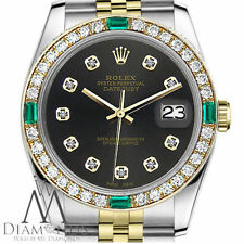 Unisex Rolex 36mm Datejust 2 Tone Chocolate Dial Emerald Diamond Accent Watch