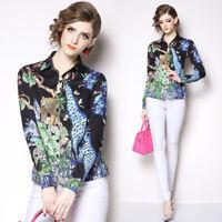 2019 Spring Summer Fall Floral Print Collar OL Long Sleeve Women Shirt Blouse