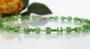 Glass Jewellery Stainless Steel Silver Necklace Cube Green Spring Pearls White #