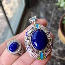 Noble Romantic Natural Lapis Lazuli S925 Silver Plated K Gold Pendant Ring Set