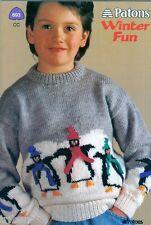 Knitting PATTERNS Childrens Sweaters Penguins Skating Bear Bunnies Snowman 2-12