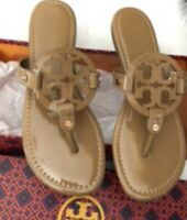 Tory Burch Miller Patent Leather Flip Flop Logo Sandals in Sand Sz 8 No Box Nude