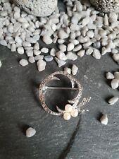Brosche rund drei kleine weiße Perlen Markasiten 835 Silber 3,73 g CP4662