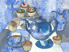 Anne Williams - 20th Century Acrylic, Afternoon Tea in Blue