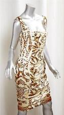 ROBERTO CAVALLI Womens Yellow Leopard Print Silk Ruched Sheath Dress 44/10 NEW