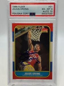 Julius Erving 76ers 1986 Fleer #31 Signed Autograph PSA 6 PSA DNA Auto 10