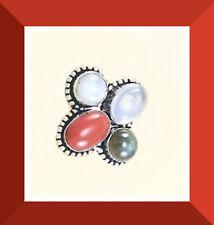 NEW Opal Coral Moonstone Labradorite 925 Sterling Silver Ring SZ 8 FREESHIP #179