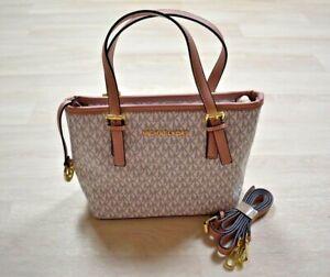 Michael Kors Small Gray White Blush Pink Bag Handbag w/ Crossbody Strap