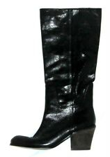 Nine West  shiny tall black gen leather scrunch western riding frye boots 7 37
