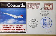 1ER  VOL CONCORDE COPENHAGUE-LONDRES du 18 SEPT. 1982  avec certificat de vol