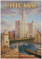 Vintage Chicago Airlines travel fine art prints set of 2 Kerne Erickson