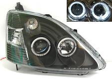 Honda Civic 02-05 EP Hatchback Black Projector Halo Angel Eye Headlights Pair