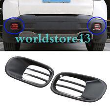 fit 2015-17 Jeep Renegade Pair Iron Tail Bumper Fog Lamp Light Cover Trim Black
