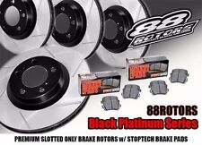 Front+Rear Slotted Black Platinum Rotors & Stoptech Brake Pads w/ Brembo Caliper