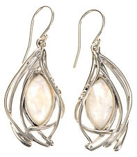 Hagit Gorali Rainbow Moonstone Polished Sculpted Sterling Silver Earrings
