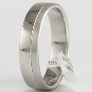 Platinum Wedding Band Ring Hallmarked Size 'R'  Brand NEW approx 5mm