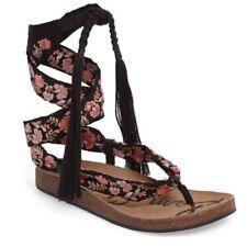 Sam Edelman Kelby Size 8 Embroidered Sandal Ankle Strap Wrap Around Leg