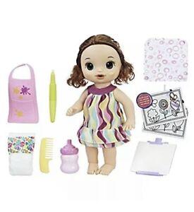Finger Paint Baby Doll Drinks & Wets Bottle Brunette Baby Alive Doll NEW