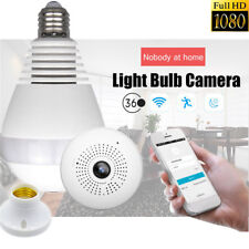 360degree Panoramic 1080P Hidden IR Camera Light Bulb Wifi FishEye Security CCTV