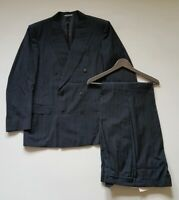 JEAGER SUIT Charcoal Striped Pure Wool Size 42C 36W 35L Made In Italy RRP £600