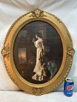 Vtg 1920's? Woman Bride Roses Fireplace Glow Barbola Flower Shell Oval Frame