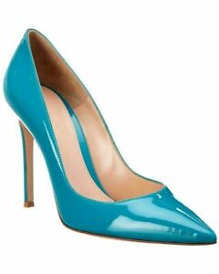 Gianvito Rossi Women's Blue Gianvito 105 MM High Heel Pointed Patent Pump