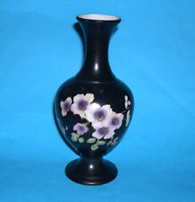 "Vintage Art Pottery ""Pearl"" - Attractive Black Vase With Flower Design - Stamped"