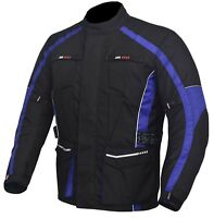 Men's Motorcycle Motorbike Jacket Waterproof Textile Cordura CE Armour Blue