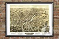 Vintage Pawtucket, RI Map 1877 - Historic Rhode Island Art Victorian Industrial