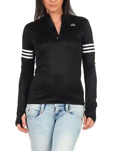 adidas running Shirt Lauf-Shirt 1/2-Zip Damen Langarm Climalite schwarz AA5632