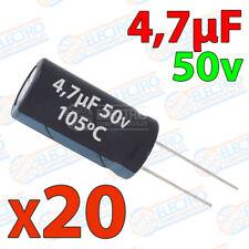20x Condensador 4,7uF 50v electrolitico 105ºC 20% 4x8 PCB PIC Arduino 4.7