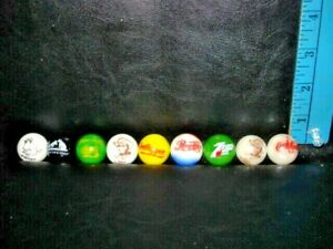 "Nice Lot of 9 Collectible Glass 1"" Logo Marble-COKE-RCA-PEPSI-7UP-JOHN DEERE- +"