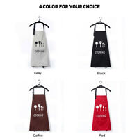 Waterproof Cooking Apron for Women Men Adjustable Bib Apron W/Two Pockets New