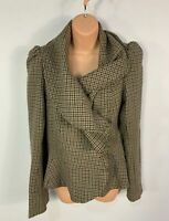 WOMENS NEW LOOK SIZE UK 14 GREEN DOG TOOTH SMART/CASUAL FRILL OVERCOAT JACKET