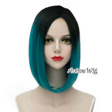 Lolita Black Mixed Turquoise Green Medium 40CM Fashion Cosplay Wig + Wig Cap