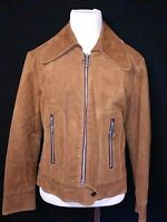 Genuine 60s Vintage Faux Suede Womens Short Hippie Jacket Union Made USA Small