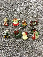 CHRISTMAS ENAMEL PIN BADGES SET OF 8, Cracker Novelties, Stocking Fillers ETC