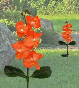 Solar Led Lampe Groß XXL Blume Orchidee Garten Licht Pflanze Balkon 75cm orange