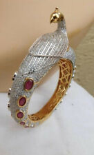 GORGEOUS PEACOCK BANGLE BRACELET W/ SIMULATED DIAMONDS & RUBIES