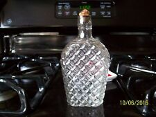 "VINTAGE WHISKEY FLASK W/DIAMOND PATTERN AND CORK.6""H"